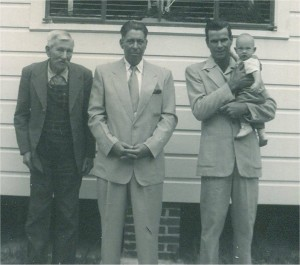 My great-grandfather, Rev. S. G. Meadows, at left with his son, my grandfather, and my uncle and cousin.  Four generations of Meadows Men.  This is how I remember my great grandfather; I was born two months after this photo; he died 7 years after this photo was taken.