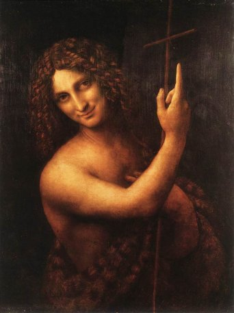 Text Box:    St. John. Louvre. It is said to be the most disquieting of Leonardo's work. Leonardo has transformed John, the alleged precursor of Christ, from a gaunt ascetic to what can only be said to be almost a hermaprhodite with soft, womanly flesh, glancing out of the painting with a look that is not renunciation, but sly mystery and devious invitation with finger pointing heavenward.   From Leonardo's notebooks:   'The limbs which are used for labour must be muscular and those which are not much used you must make without muscles and softly rounded. Represent your figures in such action as may be fitted to express what purpose is in the mind of each; otherwise your art will not be admirable.'  'Therefore it is here represented with a reed in his right hand which is useless and without strength, and the wounds it inflicts are poisoned. [...] And for these reasons the reed is held as their support. Evil-thinking is Envy or Ingratitude.'   'Envy must be represented with a contemptuous motion of the hand towards heaven, because if she could she would use her strengthe against God...'   What, exactly, was Leonardo trying to tell us about St. John?